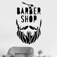 Barber Shop Wall Sticker Beard Scissors Decals Vinyl Hair Salon Decor Mural Removable Wallpaper Window Modern Decoration A130 creative barber shop vinyl wall stickers wallpaper decor for barber shop decoration decals sticker murals wallstickers