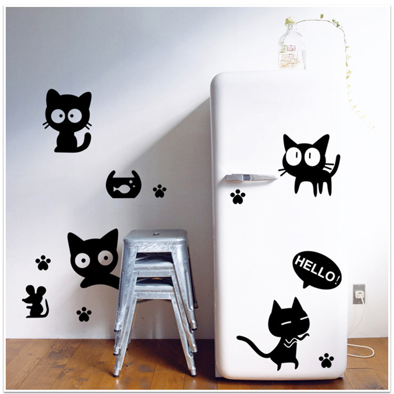 1PCS Creative Black Cats Removable Wall Decal Wall Sticker DIY Wallpaper Paste Wall Stickers Art Home Decals Decoration in Wall Stickers from Home Garden