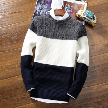 Men's Casual Full Sweater Striped Round Neck Pullovers