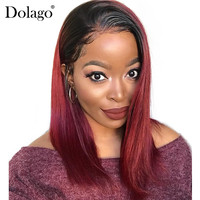 1B 99J 360 Lace Frontal Wig 150% Straight Lace Front Human Hair Wigs With Baby Hair Ombre Colorful Purple Red Aquaman Dolago