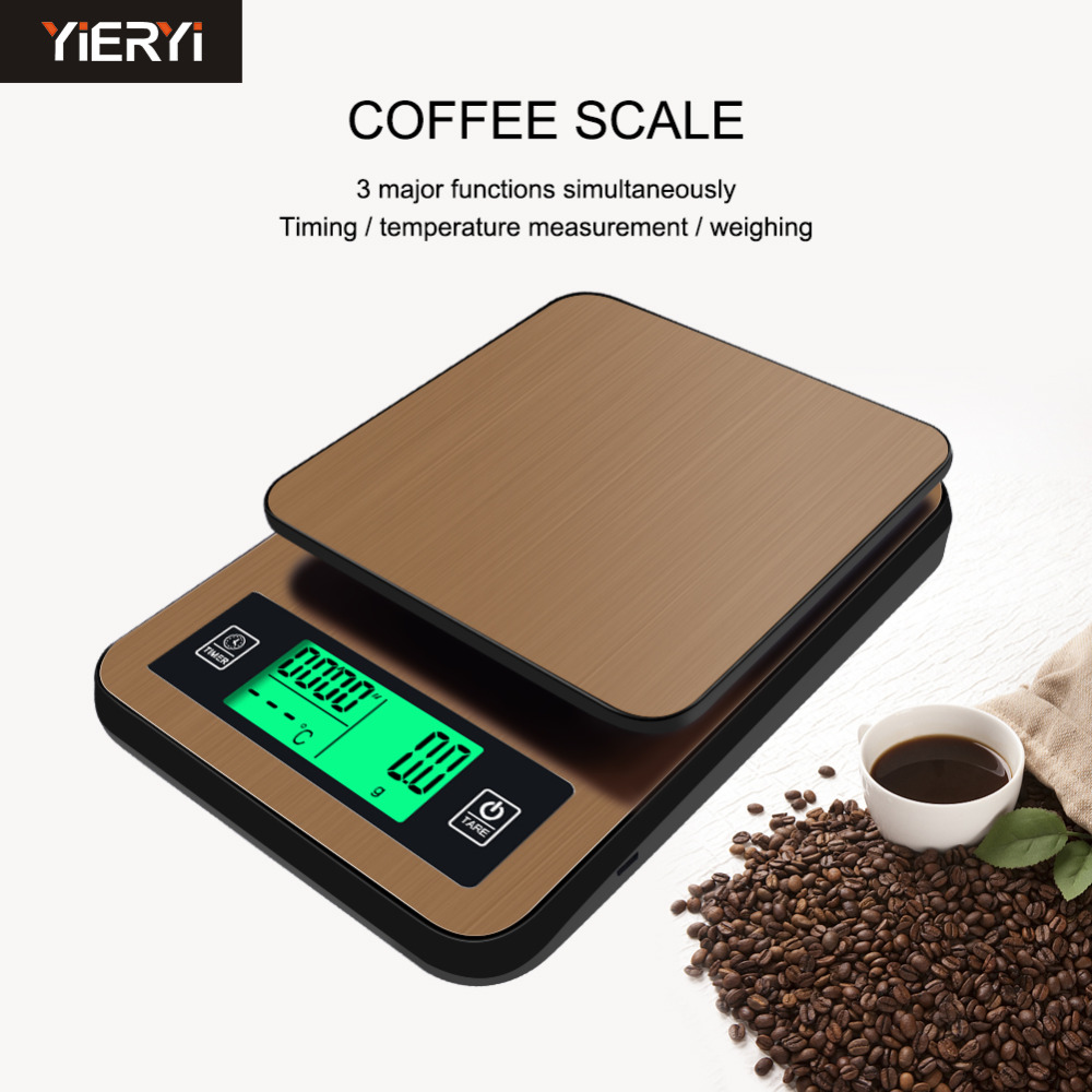 2018 New Timing Hand-washed Coffee Electronic Scale with Probe Digital Kitchen Scale High-precision LCD Food Weight 1KG/0.1g цена