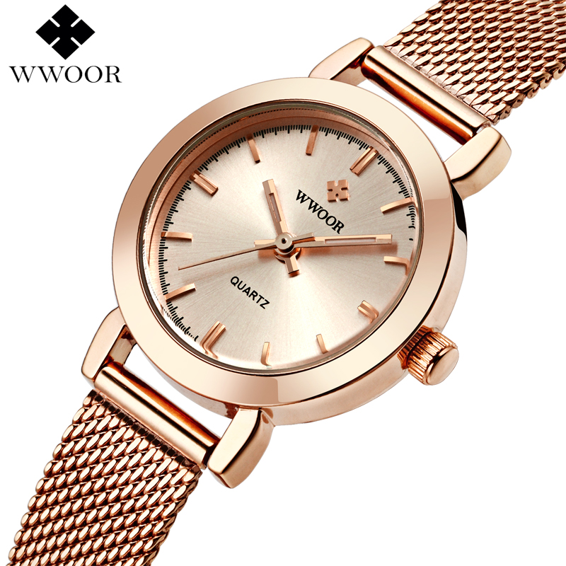 WWOOR נשים שעונים קוורץ רוז זהב שמלת גבירותיי שעון מותג יוקרה קטן שעון נירוסטה Mesh צמיד שעון יד מתנות
