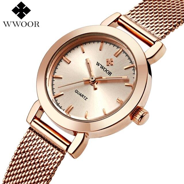 7e56c16e4a7 WWOOR Mulheres Relógios Vestido Senhoras Relógio de Quartzo Rosa de Ouro  Marca De Luxo Pequeno Relógio