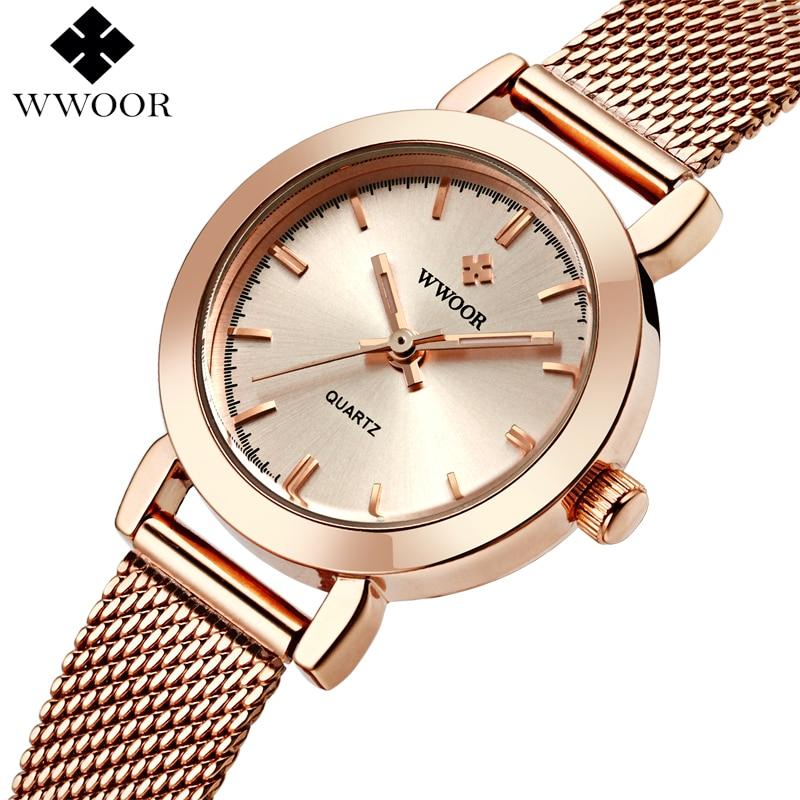 WWOOR Zegarki damskie Zegarek kwarcowy z różowym złotem Zegarek damski marki Luksusowy mały zegar Siatka ze stali nierdzewnej Bransoletka Wrist Watch Prezenty