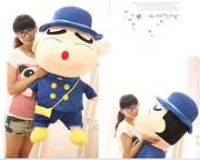 big plush round mouth Crayon Shinchan toy huge blue hat and coat Crayon Shinchan doll gift about 100cm 557