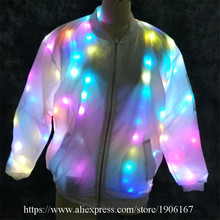 Colorful LED Light Party Nightclub Dancer Costume Luminous Ballroom Clothing Light UpDJ Jacket Dance Clothes