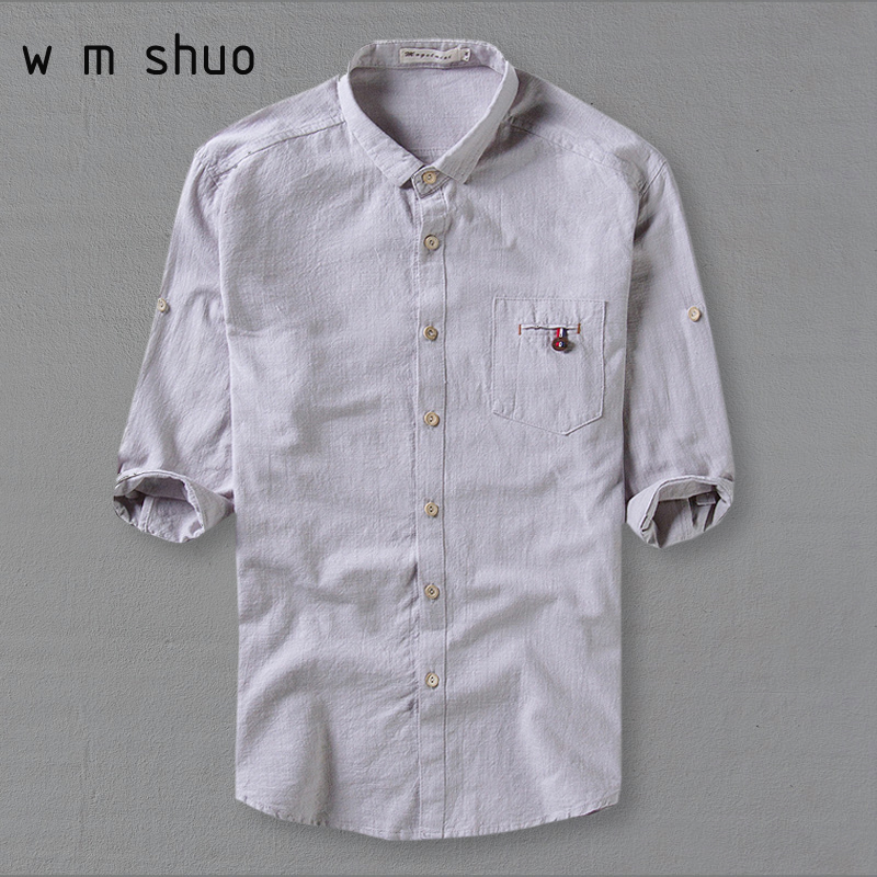 WMSHUO2017 Male 5XL Linen Shirt Three Quarter Sleeve Fluid Turn-down Collar Loose Thin Men's Casual Slim Fit Clothing ShirtsY154