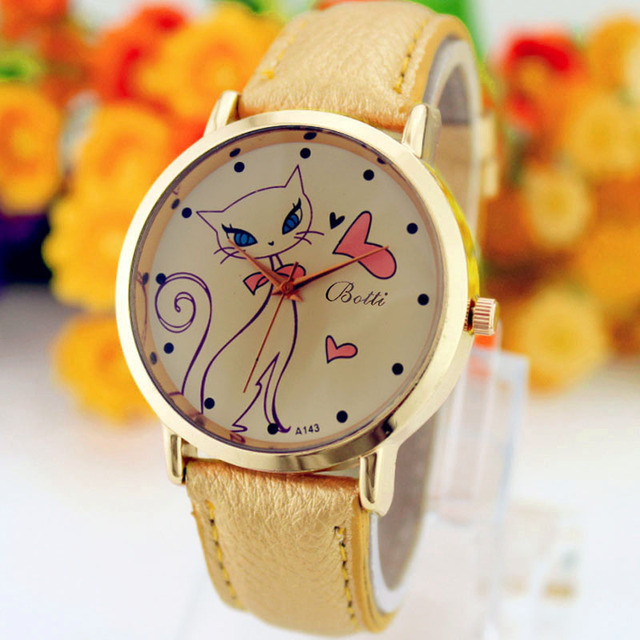 Women's Cat and Hearts Printed Watches