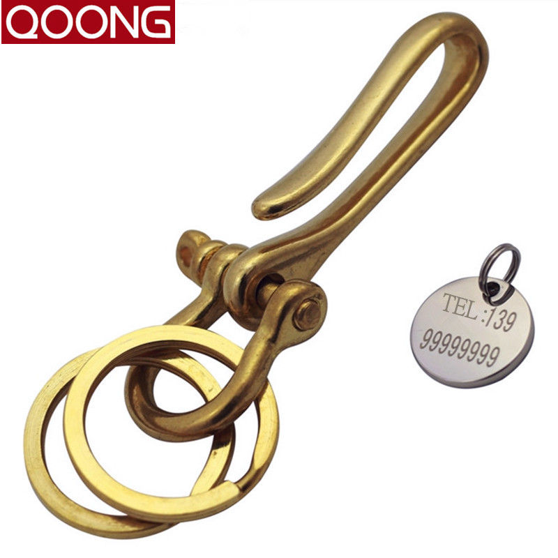 QOONG 2017 High-grade Two-rings Luxury Pure Handmade Brass Car Key Chain Man's Strap Holder Waist Hanged Ring QZ6-002 - Keychain Store store