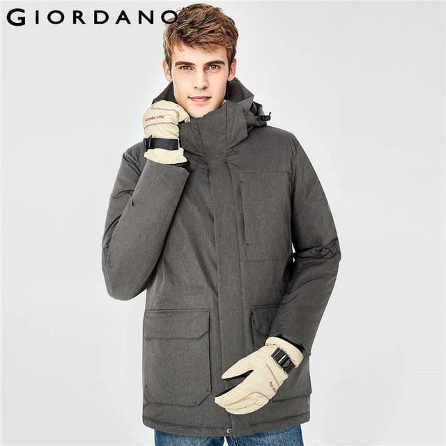 f16d791c2 US $128.44 48% OFF|Giordano Men Duck Down Jacket Men Grey Duck Down  Detachable Mid long Down Jacket Machine Washable Windproof Doudoune Homme  Warm-in ...