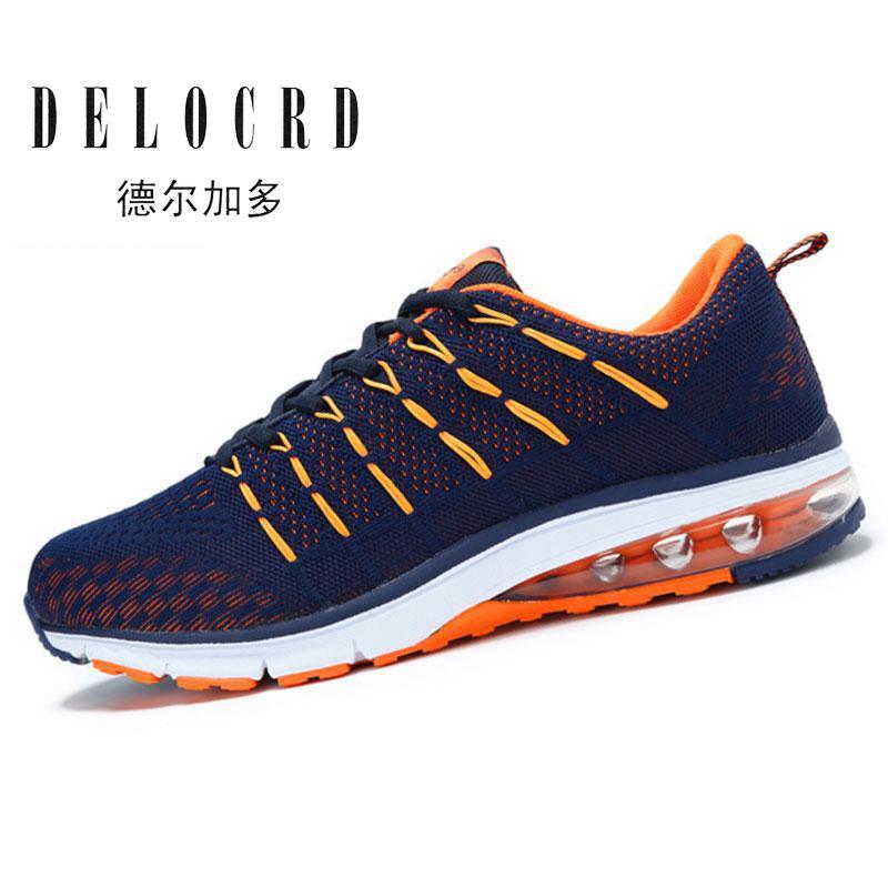 2017 נעלי ריצה מקצועיות נעלי ספורט גברים באיכות גבוהה סניקרס רשת לנשימה עם מתנה חינם עיצוב Flywire מדרסים