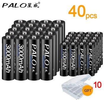 PALO 100% origianl  20pcs AA 3000mAh 1.2V Ni-MH+20pcs AAA Battery 1100mAh rechargeable batteries  for toys power