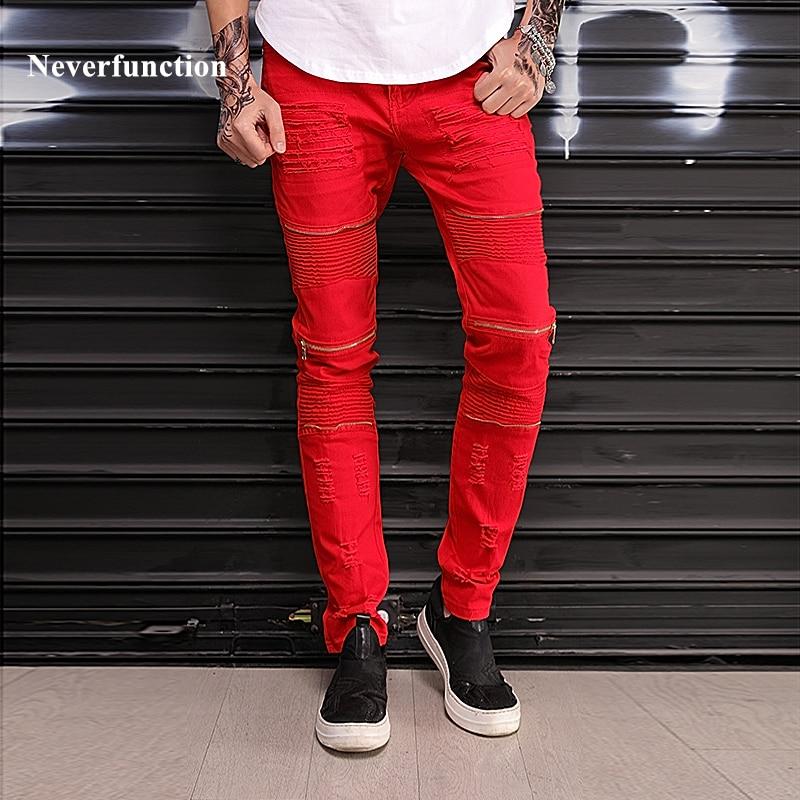 New Slim Knee holes pleated Multiple zipper Ripped Men biker   Jeans   hop hip motorcycle Destruction RED white Denim pants