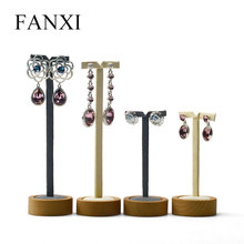 FANXI 2 Pieces /Set Solid Wood Earring Display Stand Round Bottom Ear Nail Earring Holder Shelf for Jewelry Organizer Exhibition