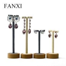 Fanxi 2 Stuks/set Massief Houten Oorbel Display Stand Ronde Bodem Oor Nagel Oorbel Houder Plank Voor Sieraden Organisator Tentoonstelling