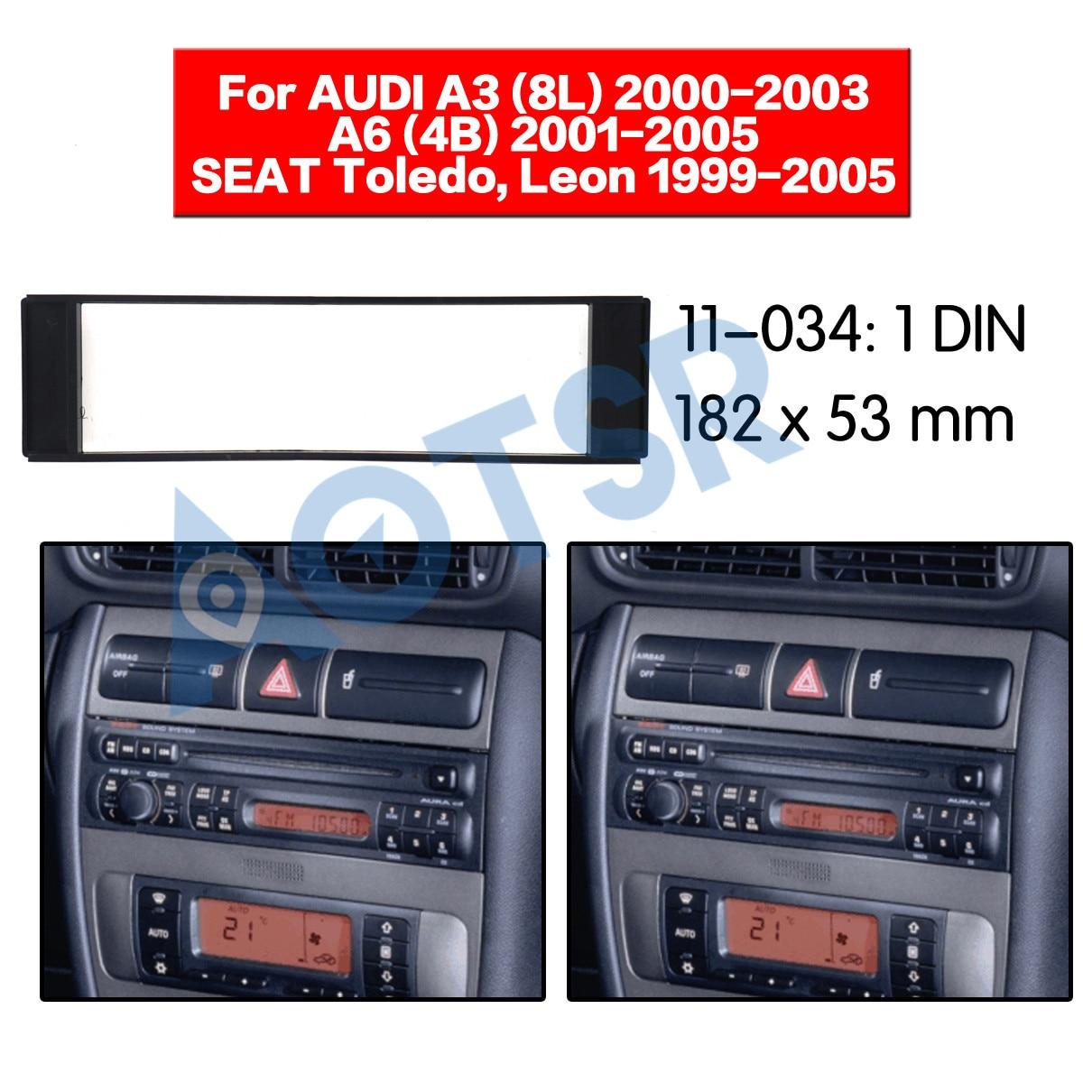 Für Audi A3 8L A6 4B C5 Seat Leon 1M Radio Einbau Blende Rahmen DIN Adapter