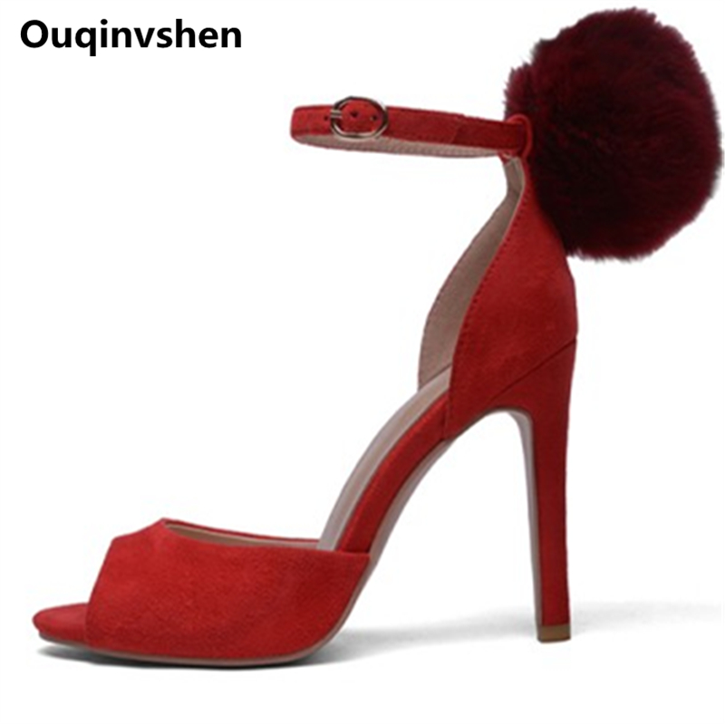 Ouqinvshen Fish Mouth Red Extreme High Heels Big Size 34-42 Thin Heels Kid Suede Buckle Strap Summer Shoes Fashion Wedding Pumps