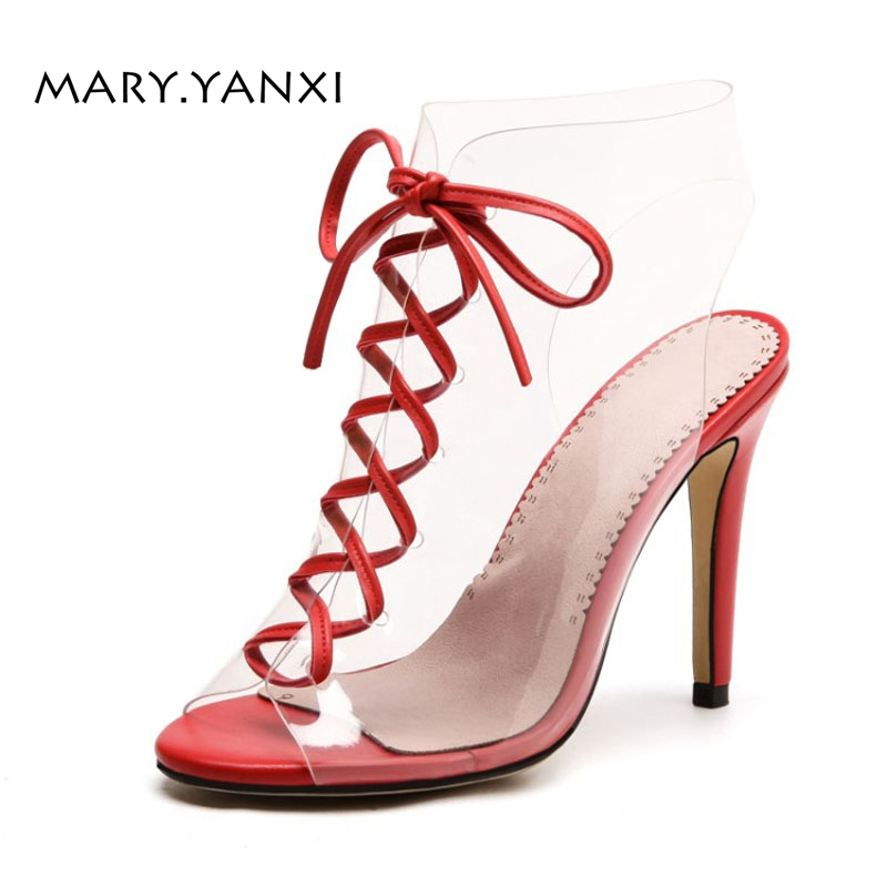 Women Sandals Boots Big Size Gladiator Shoes Transparent Peep Toe Lace-up Cross-tied Fashion Sexy Party High Thin Heels crystal high heels shoes platform transparent pvc cross strap women gladiator sandals square toe nightclub party wedding shoes