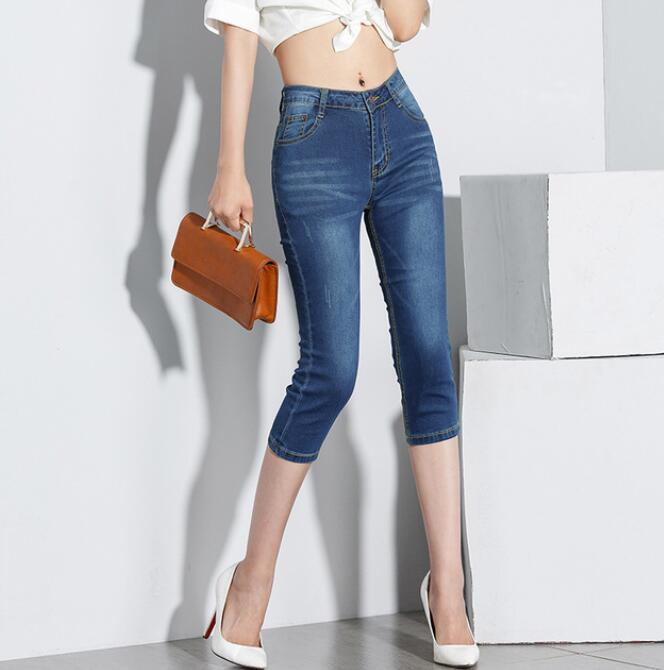 2019 Women Skinny sexy Capris   Jeans   Female Ladies Stretch   Jeans   Capri Knee Length Summer stretch   Jeans   Woman 7 minutes pants