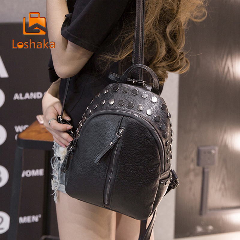 Loshaka Small Women Backpacks Rivet Zipper Pu Leather Student Backpack Preppy Fashion Bag Girls Women's Backpack