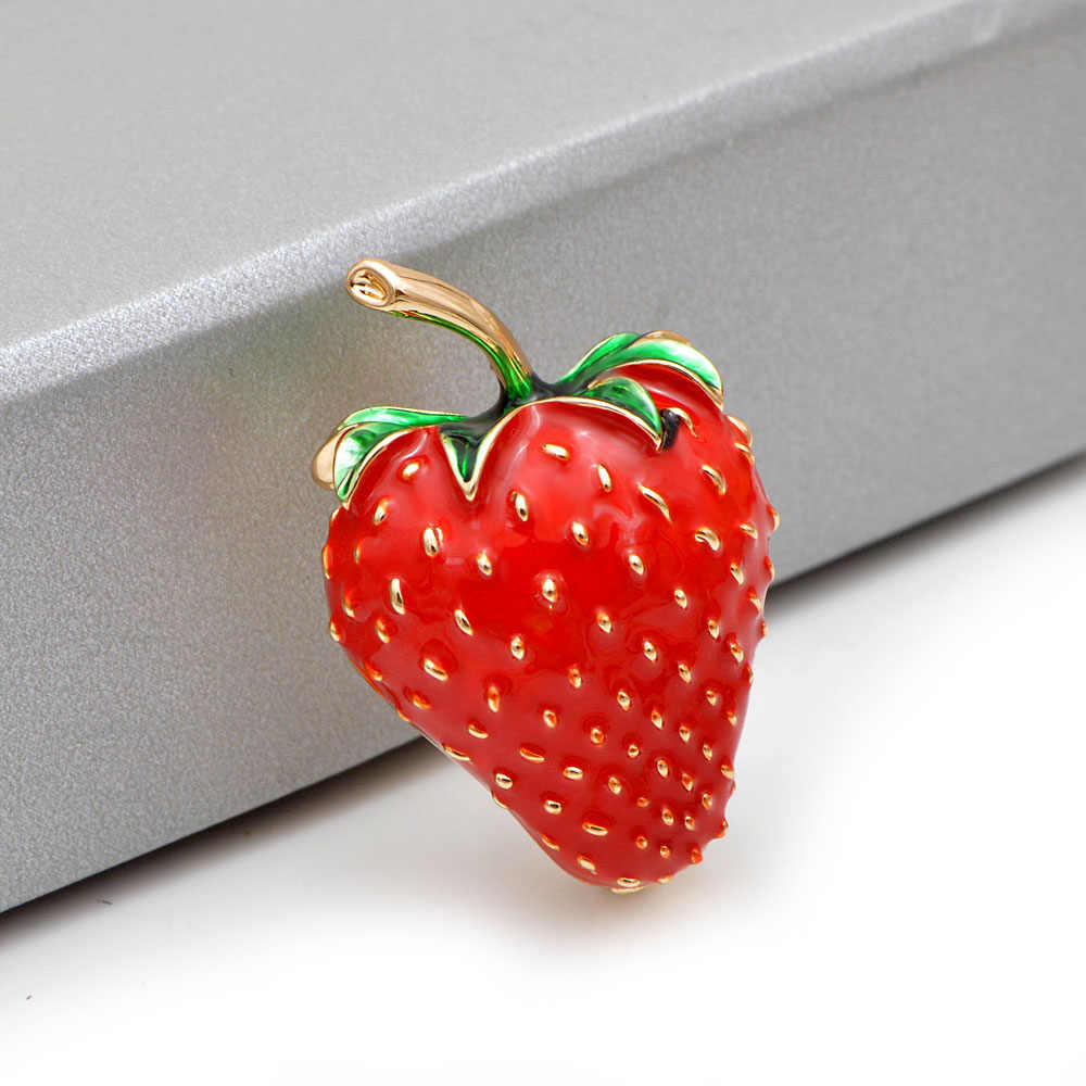 CINDY XIANG Cor Esmalte Vermelho Morango Broches para As Mulheres Estilo Verão Frutas Saco Chapéu Acessórios Jóias Alfinetes De Casamento Bom Presente