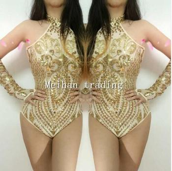 Gold Sequins Bodysuit Flashing Two-piece Outfit Shining Sexy Birthday Party Costume Celebrate Show Women Evening Dance Wear