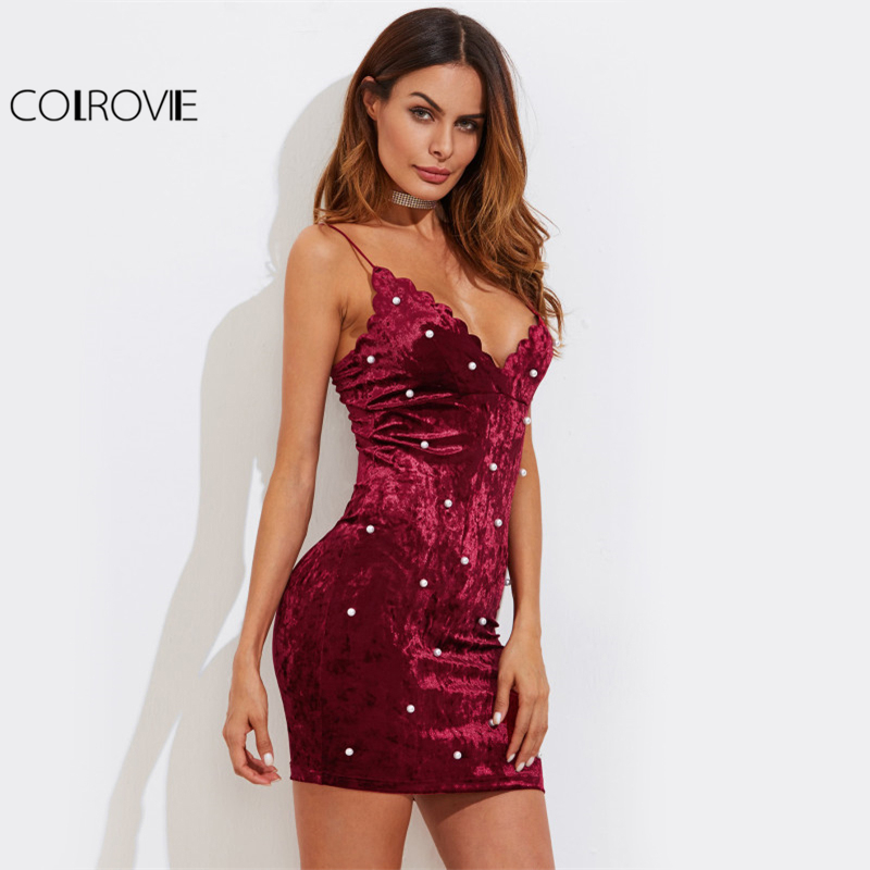 COLROVIE Pearl Beading Crushed Velvet Dress Scalloped V Neck Women Bodycon Party Cami Dresses 2017 Zip Back Hot Lady Mini Dress