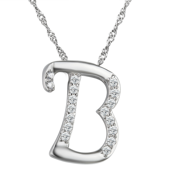10pcslot Newest Silver Crystal English Alphabet Letter B Pendant Necklace for Women