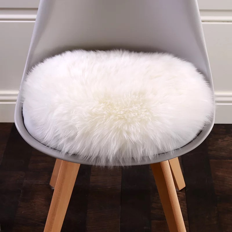 100% Épaissir Ronde Laine Australienne Coussin chaise de bureau coussin de laine en cuir canapé tabouret coussin