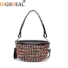 Waist Bag Women Fanny Packs Tweed Chains belt bag brand Waist Pocket Knitted Handbag Lady Check Plaid Bags 2018 New High Quality