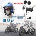 ¡ Promoción! 2xV6 Multi Interphone de BT 1200 M Motocicleta Del Casco de Bluetooth Intercom Interphone Auricular Intercomunicadores para 6 Jinete