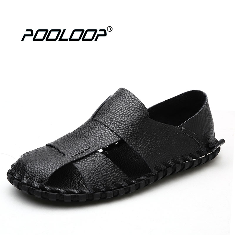 POOLOOP Casual Summer Mens Closed Toe Sandals Slip On Fashion Leather Shoes Black Comfortable Beach Tan Sandals Mens Moccasins