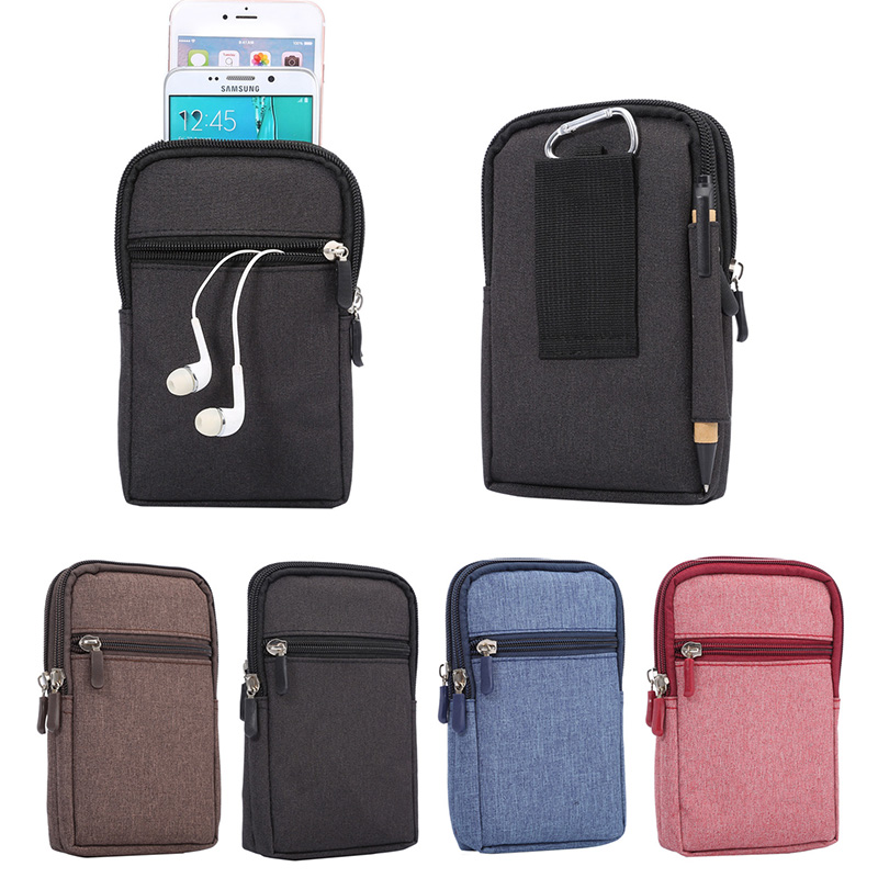 Belt Clip Holster Leather Pouch Sport Bags 2 Pockets Universal Holster Cover For Samsung Note 4 S8 Universal Case For Phone
