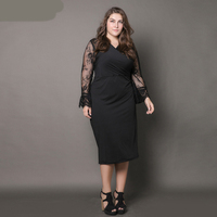 ShowMi Women Big Size Dresses 6XL European Black Lace Hollow Out Sleeve V Neck Pencil Summer