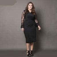 ShowMi Women Big Size Dresses 6XL European Black Lace Hollow Out Sleeve V Neck Pencil Summer