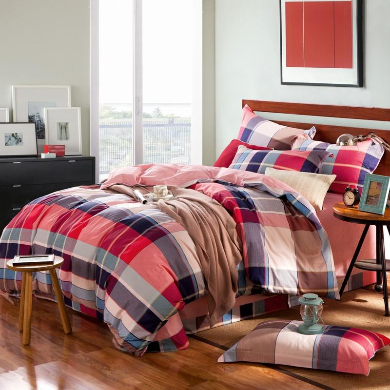 boys plaid comforter cover flat sheet pillowcase queen king 4pcs red