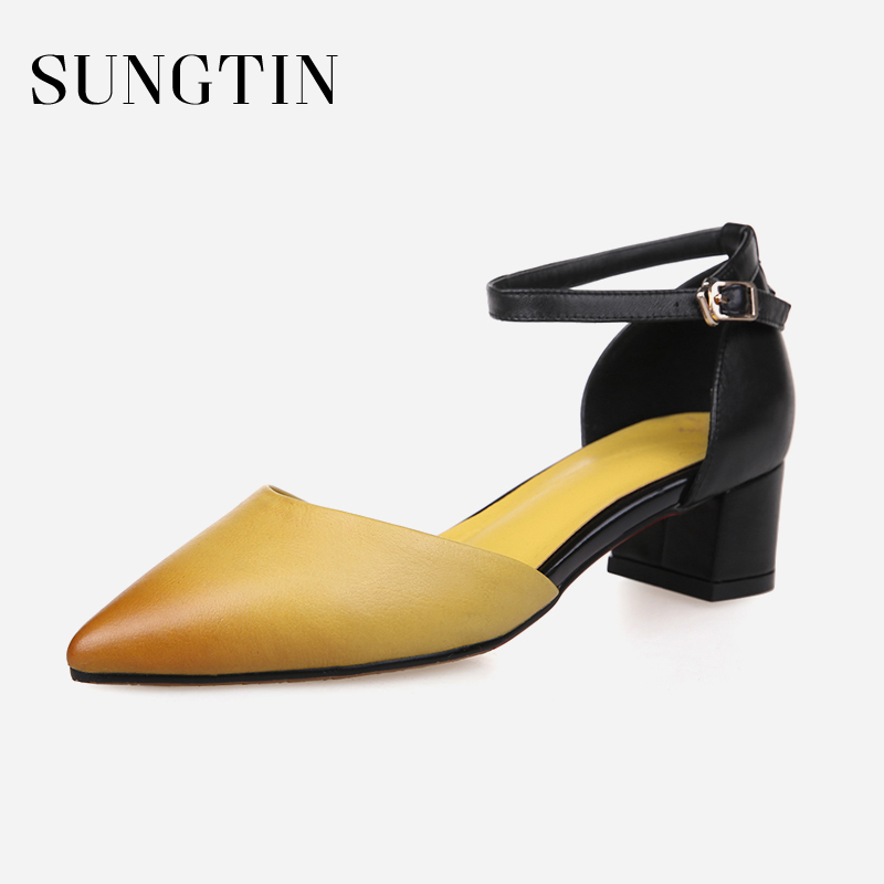 Sungtin Classic Ankle Strap Sandals Women Sexy Pointed Toe Pumps Dress Party  Chunky High Heels Lady Summer Shoes Large Size-in Middle Heels from Shoes on  ... e1c110aec9c6