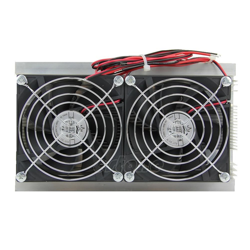 200 x 115 x 8.5mm 120W Thermoelectric Peltier Refrigeration Semiconductor Cooling System Kit Double Fan ac 12v 10a 120w thermoelectric peltier refrigeration cooling system kit cooler double fan diy