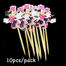 10pcs/lot Minnie Mouse theme fruit topper Dottie Minnie Mouse theme birthday party decorations Minnie theme cupcake toppers(China)