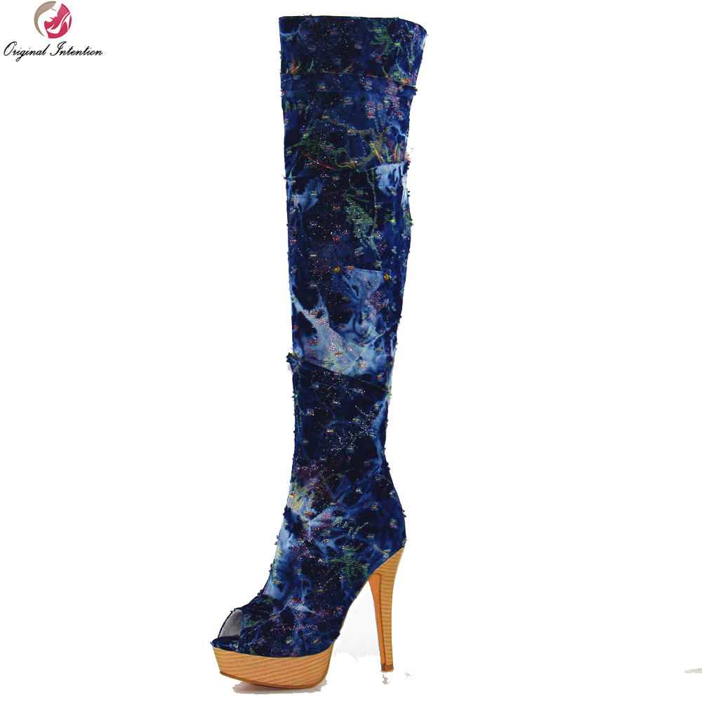Original Intention Fashion Women Over the Knee Boots Beautiful Peep Toe Thin Heels Boots Elegant Blue Shoes Woman Plus Size 4-15 original intention winter women over the knee boots fashion height increasing boots elegant wine red shoes woman us size 4 15