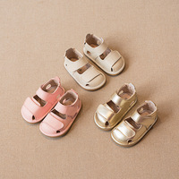 2019 New Baby Shoes Genuine Leather Baby Girls Sandals Non slip Hard Bottom Newborn Sandals