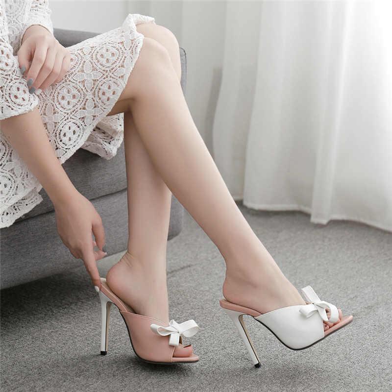 2019 Yaz Kadın 11.5cm Yüksek Topuklu Katır Şeylleri Slaytlar Artı Boyutu 42 Kadın Peep Toe Stiletto Topuklu Terlik Pembe ayakkabı YFD-152
