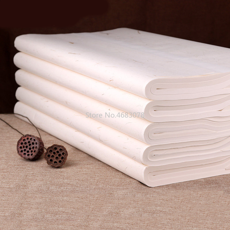 100 Sheets Traditional Xuan Paper Chinese semi raw rice paper Painting Calligraphy SuppliesPainting Paper   -