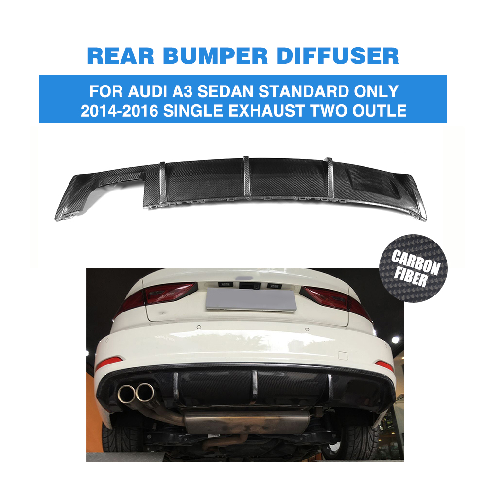 Carbon Fiber <font><b>Rear</b></font> Bumper Lip <font><b>Diffuser</b></font> for <font><b>Audi</b></font> <font><b>A3</b></font> Standard Sedan 4 Door 8V 2014 - <font><b>2016</b></font> Non Sline image