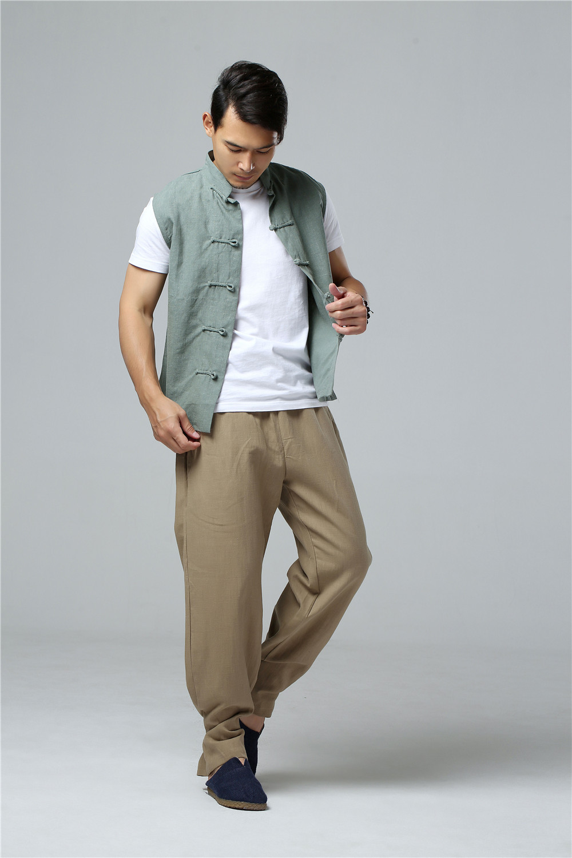 LZJN 2019 Men's Summer Waistcoat Chinese Style Vintage Breathable Linen Button Down Kung Fu Shirt Sleeveless Vest Jacket  (26)