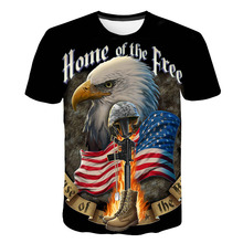 Mens hip-hop T-shirt summer 3d t-shirt printed Eagle fashion
