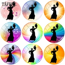 TAFREE Fan Dance Dancing Pose 15mm 18mm Beads Glass Cabochon Pattern Dome Cameo Pendants Settings Jewelry