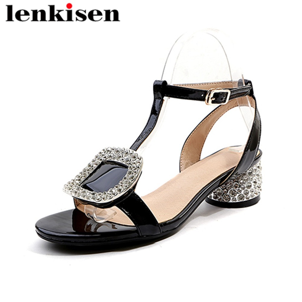 Lenkisen plus size solid peep toe natural leather buckle strap crystal button med heels classic simple dress women sandals L61 plus button detail solid tee