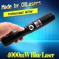 OXLasers OX-BX9 445-450nm 4000 МВт 4 Вт Сжигание Лазерный Фокусируемый синий лазерный указатель ожога бумаги использовать 2*18650 батарей бесплатная доставка