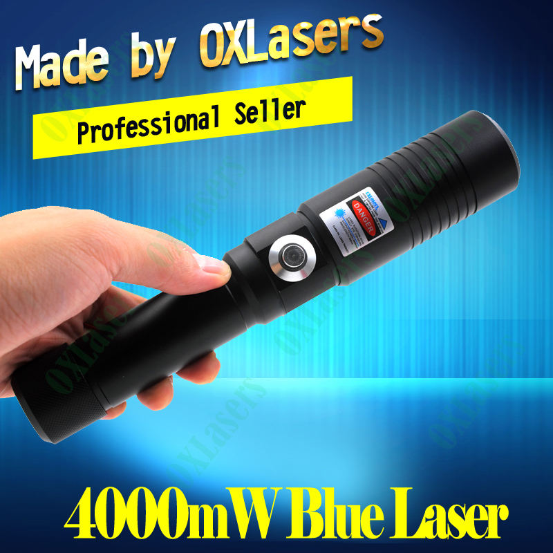 OXLasers OX-BX9 445-450nm 4000mw 4W Burning Laser Focusable blue laser pointer burn paper use 2*18650 batteries free shipping